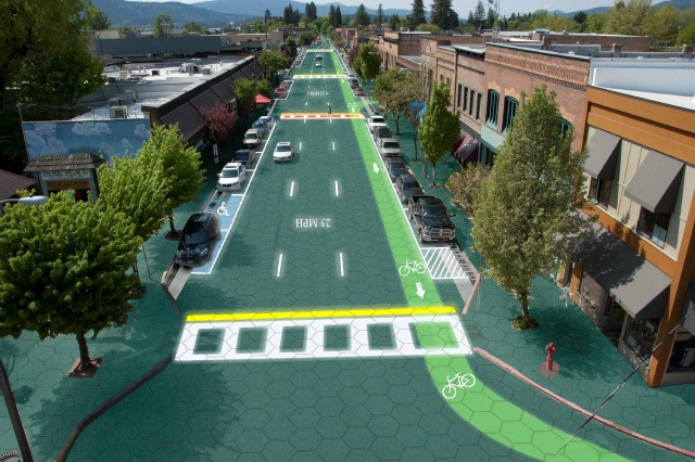 Solar Roadways Artist Rendition of Downtown Sandpoint